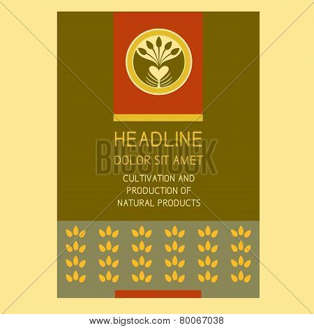 Brochure Flyer design vector template in A4 size. Crop. Agriculture