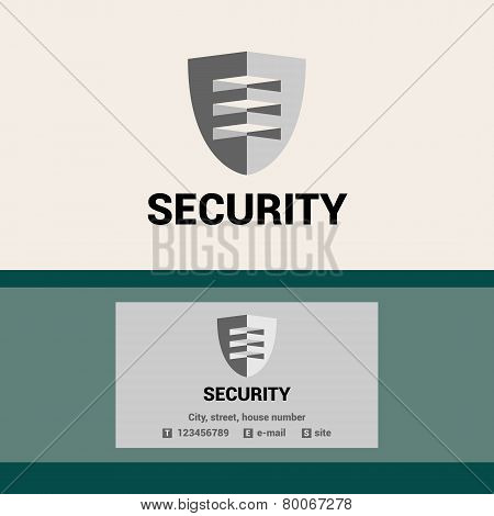 Editable template logo and business card for security organization. The shield and visor