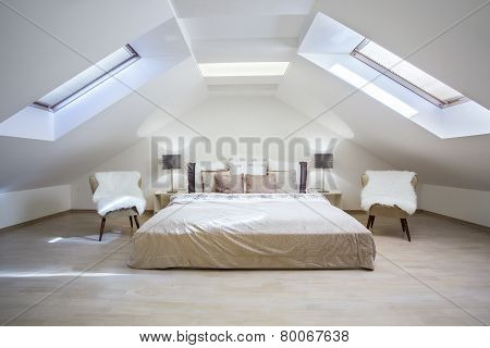 Bright Attic Bedroom In The  Apartment