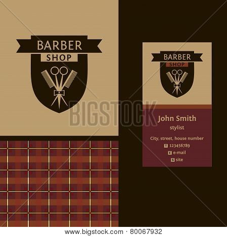 Vector heraldic logo for a hairdressing salon. Business card. Template for corporate style barbersho