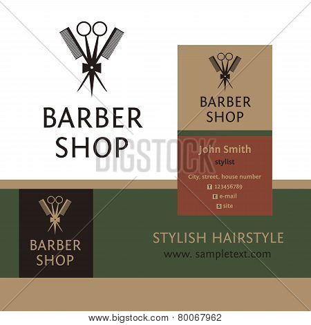 Vector heraldic logo for a hairdressing salon. Business card and banner. Template for corporate styl