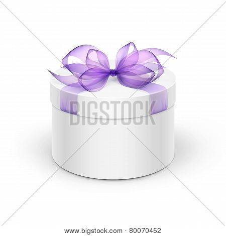 White Round Gift Box with Purple Ribbon and Bow