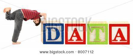 Alphabet Blocks And Adorable Boy Data