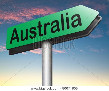 Australia down under continent tourism holiday vacation economy visit and explore the country and outback road sign