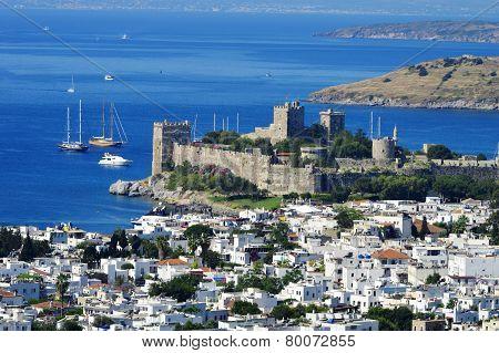 View Of Bodrum Harbor During Hot Summer Day. Turkish Riviera