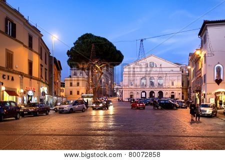 Viterbo Theater Square By Night