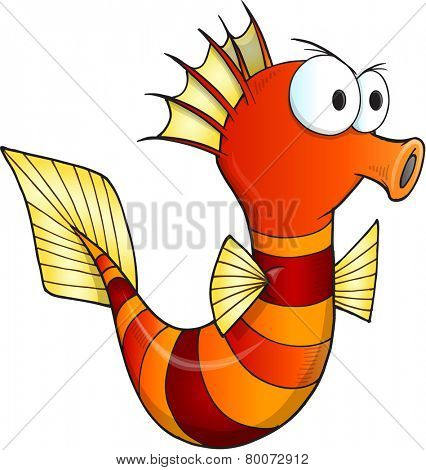 Angry Sea Horse Vector Illustration Art