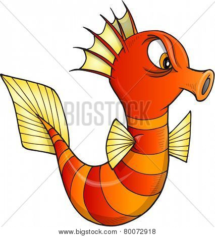 Nasty Sea Horse Vector Illustration Art