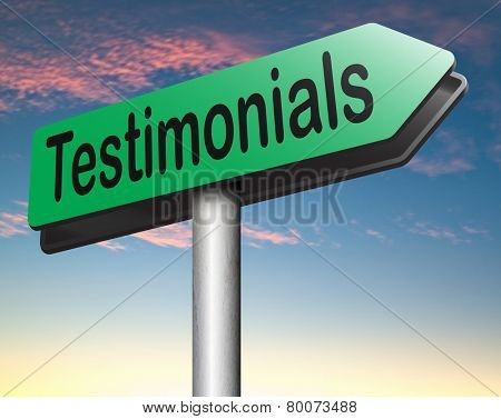 testimonials road sign arrow customer feedback testimonial or leave a comment