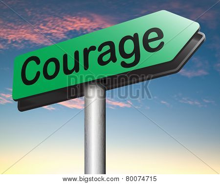 courage and bravery the ability to confront fear pain danger uncertainty and intimidation fearless road sign