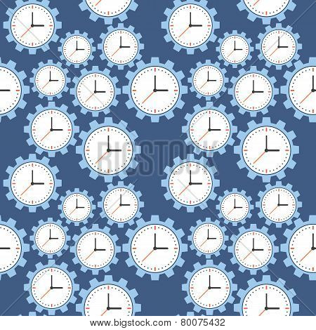 Seamless Pattern. Cogwheels And Clocks Over Blue Background.