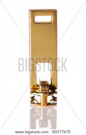 golden zip isolated on white, macro view
