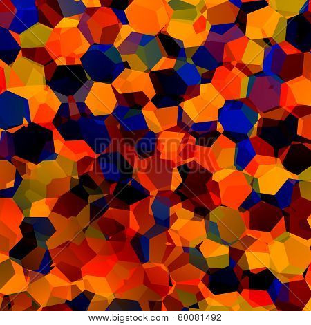 Abstract colorful chaotic geometric background. Generative art red blue orange pattern. Color.