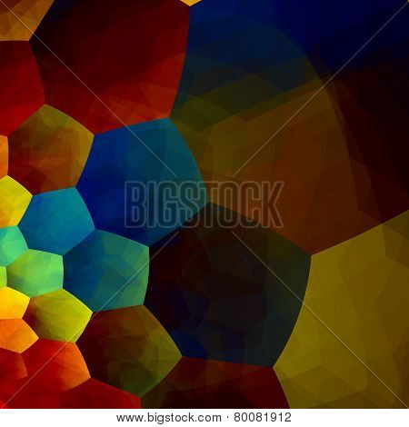 Mosaic abstract background. Generative art red blue yellow color. Design element in rainbow colours.