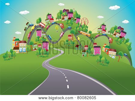 Vector background with cars on the road