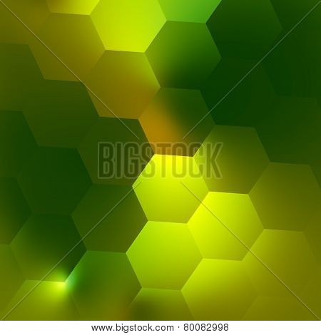 Green abstract geometric background pattern. Illuminated modern design concept. Soft glow effect.
