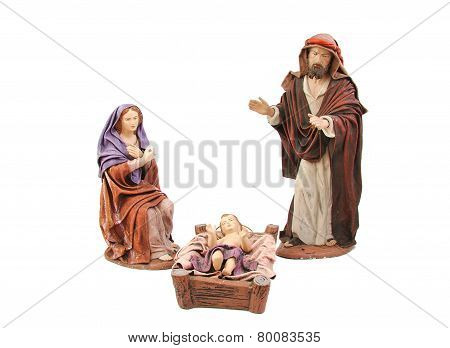 Christmas nativity. Mary, Joseph and baby Jesus isolated on white background.