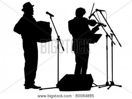 Music man whit accordion on white background