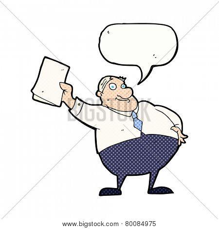 cartoon boss waving papers with speech bubble