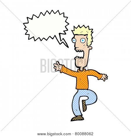 cartoon shrieking man with speech bubble