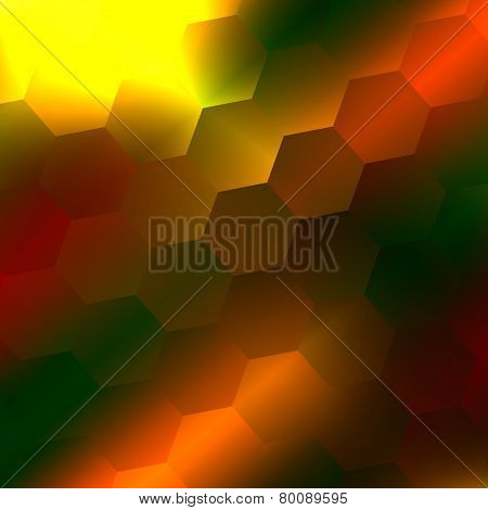 Abstract blurry background. Yellow orange green hexagons. Polished warm colours. Repeating tile.