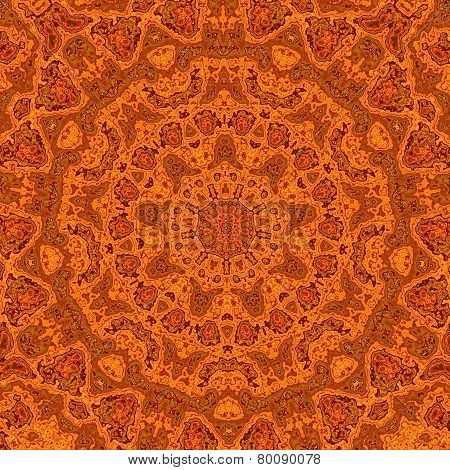 Abstract orange background. Retro vintage styled design. Symmetrical decoration. Seventies.