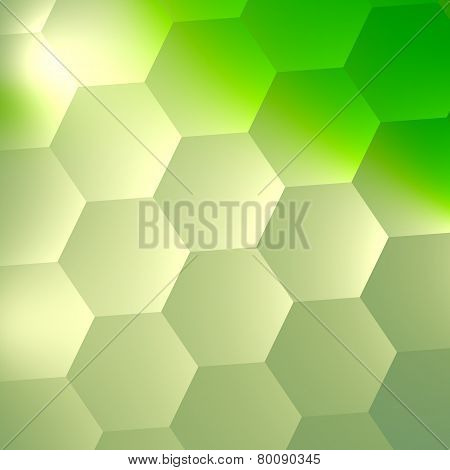 Green abstract background design. Geometric mosaic pattern. Modern illustration. Lighting effect.