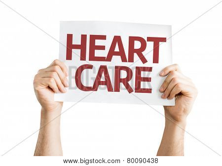 Heart Care card isolated on white background