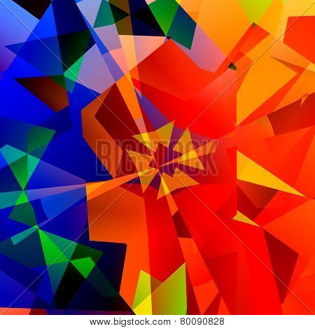 Chaotic abstract colorful art. Red green and blue color. Geometrical multicolored triangles.