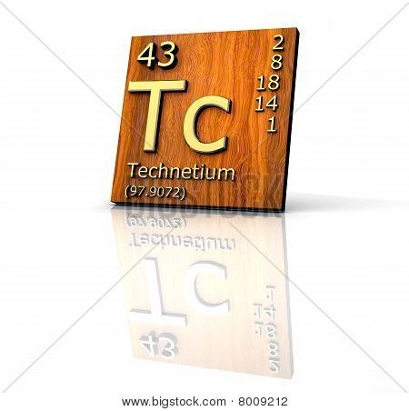 Technetium Form Periodic Table Of Elements  - Wood Board