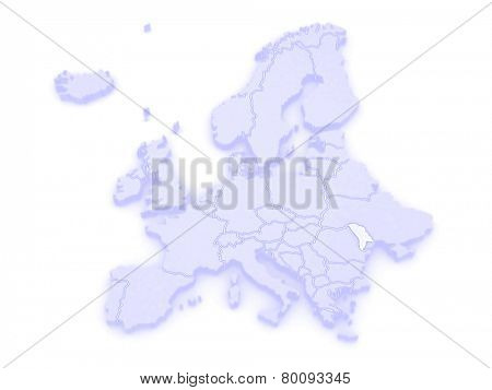 Map of Europe and Moldova. 3d