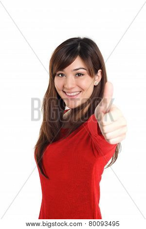 Girl Thumbs Up In Red