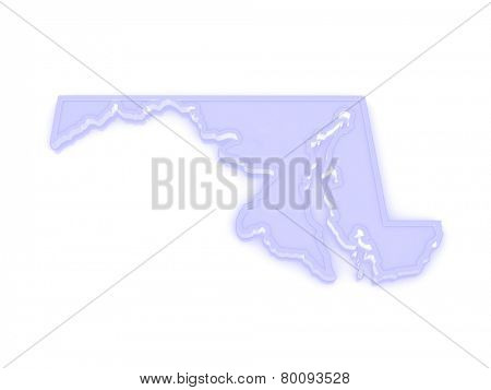 Three-dimensional map of Maryland. USA. 3d