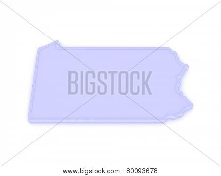 Three-dimensional map of Pennsylvania. USA. 3d