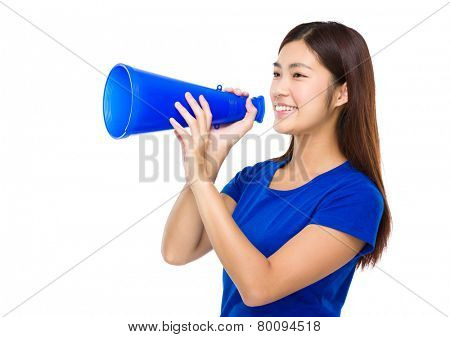 Woman yell with megaphone