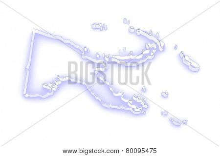 Map of Papua - New Guinea. 3d