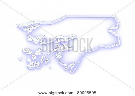 Map of Guinea-Bissau. 3d