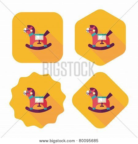 Horse Toy Flat Icon With Long Shadow,eps10