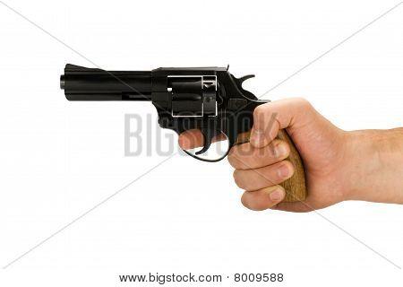 hand with revolver gun