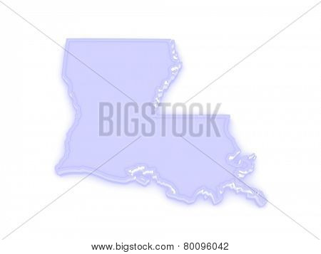 Three-dimensional map of Louisiana. USA. 3d