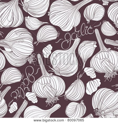 Garlic. Seamless pattern. Different garlic bulbs and lettering white on dark background. Good for menu, cards, labels, packaging.