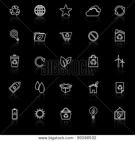 Ecology Line Icons With Reflect On Black Background