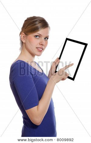 Woman Holding A Blank Touchpad Pc, 1 Finger Touches The Screen