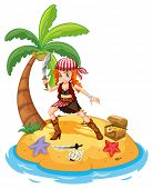 stock photo of fighter-fish  - Illustration of a female pirate on an island - JPG