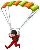 foto of sky diving  - Illustration of a man doing sky diving - JPG