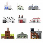image of decorative  - Factory power electricity industry manufacturer buildings flat decorative icons set isolated vector illustration - JPG