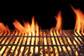 stock photo of flames  - Barbecue Fire Grill close - JPG
