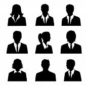 pic of avatar  - Business avatars set with males and females businesspeople silhouettes isolated vector illustration - JPG