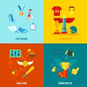 image of flat-foot  - Championship flat icons set with foot racing final game champion cup and wing elements isolated vector illustration - JPG