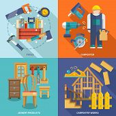 pic of carpenter  - Carpentry works icons flat set with tools carpenter joinery products isolated vector illustration - JPG